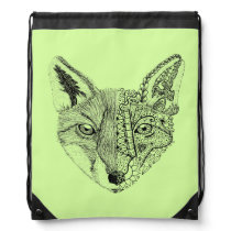 Unique Hand Illustrated Artsy Fox Drawstring Backpack