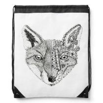 Unique Hand Illustrated Artsy Fox Drawstring Bag