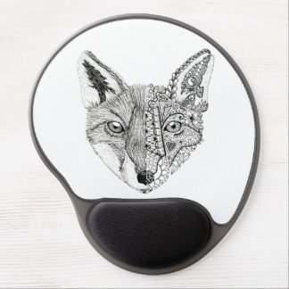 Unique Hand Illustrated Artsy Fox Gel Mouse Pad