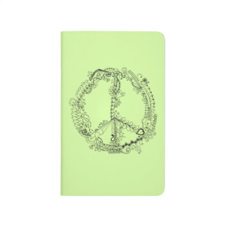 Unique Hand Illustrated Artsy Peace Sign Journal