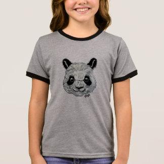 Unique Hand Painted Panda Art Girl's Ringer Shirt