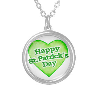 Unique Happy St. Patrick´s Day Design Silver Plated Necklace