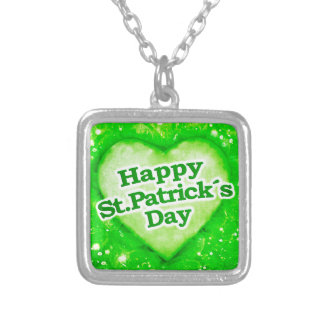 Unique Happy St Patrick´s Day Design Silver Plated Necklace