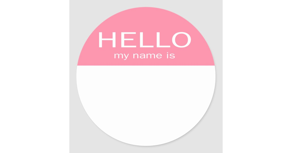 Hello My Name Is: Baby Pink Classic Round Sticker