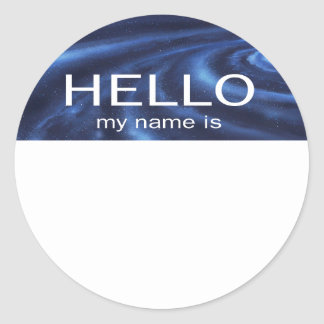Unique Hello My Name Is - Galaxy Space theme Round Stickers