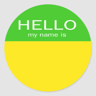 Unique Hello My Name Is - Lemon Lime Classic Round Sticker