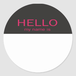 Unique Hello My Name Is - Pink on Black Classic Round Sticker