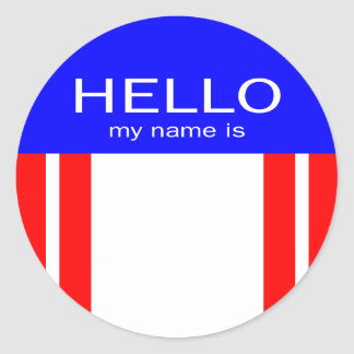 Unique Hello My Name Is - Red White Blue Classic Round Sticker