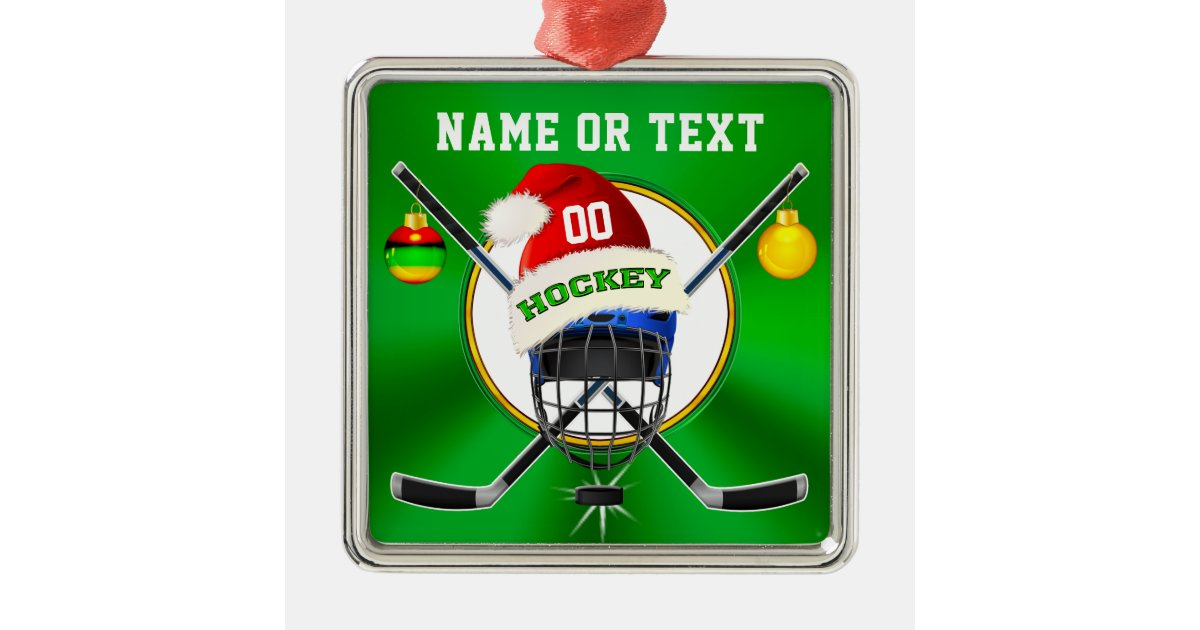 Unique Hockey Christmas Ornaments, Personalized Metal Ornament | Zazzle.com