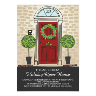 Unique Holiday Open House Party 5x7 Paper Invitation Card