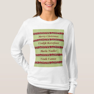 Unique Holly & Berry Christmas In Foreign Language T-Shirt