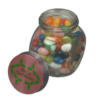 Unique Holly Leaves Jelly Belly Candy Jar