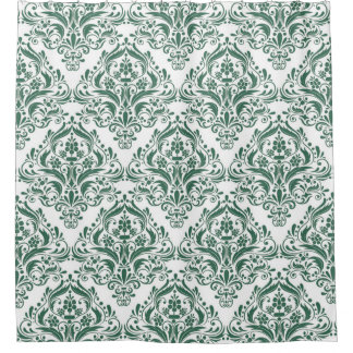 Unique Hunter Green & White Classic Damask Pattern Shower Curtain