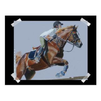 Unique Hunter/Jumper Painting Postcard