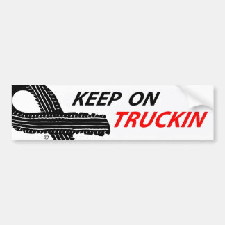 Unique keep on truckin slogan bumper sticker. car bumper sticker