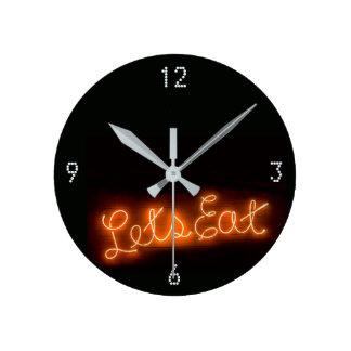 Unique Let's Eat Vintage Neon Sign in Orange Round Clock