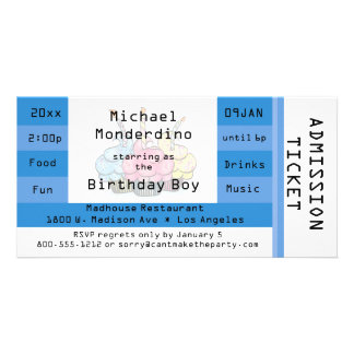 Unique Light Blue Admission Ticket Birthday Invite Photo Card Template