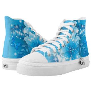 Unique light blue Flower High Top Shoes
