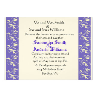 unique light purple and yellow wedding invite
