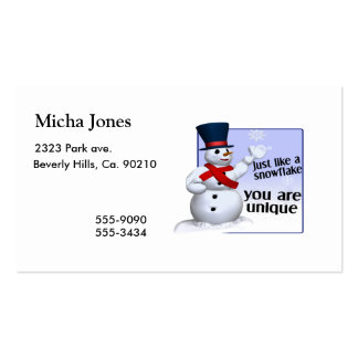 Unique Like A Snowflake Business Card Templates