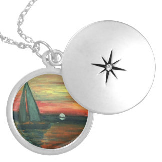 Unique locket with sailboat picture inside