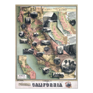 Unique Map of California (1888) Card