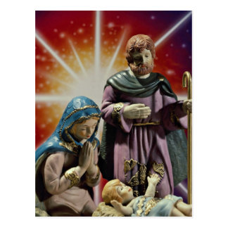 Unique Mary, Joseph and baby Jesus with colorful s Postcard