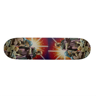 Unique Mary, Joseph and baby Jesus with colorful s Skateboard Deck