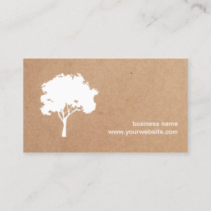 Cardboard business cards zazzle unique minimalist white tree cardboard landscaping business card fbccfo Choice Image