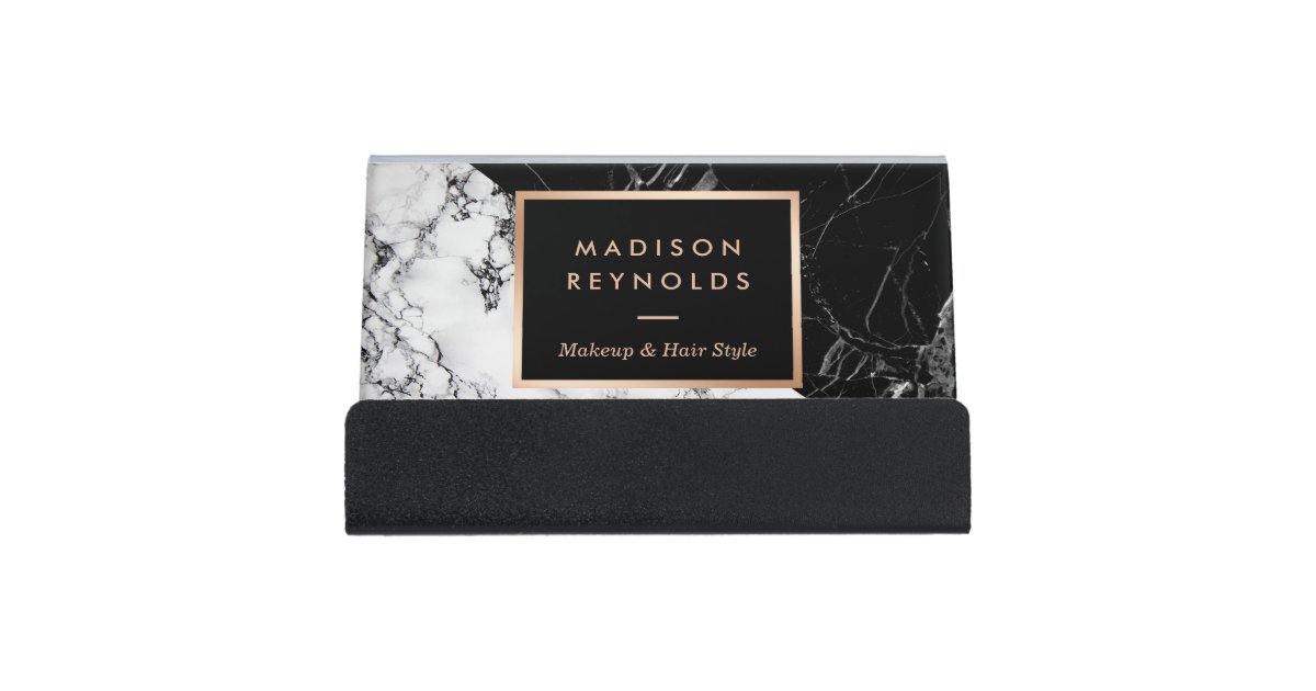 Unique Mixed Black White Marble Desk Business Card Holder Zazzle