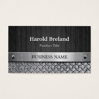 Unique Mixed Wood Plank and Silver Metal Plate Business Card
