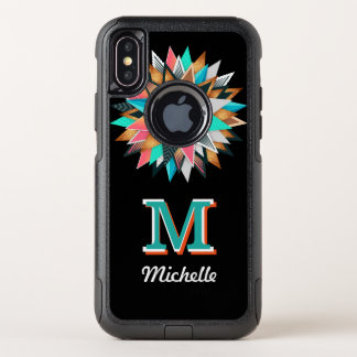 Unique Modern Art Colorful Spikes Bold Monogrammed OtterBox Commuter iPhone X Case