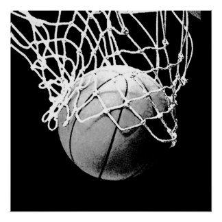 Unique Modern Black White Basketball Print Poster