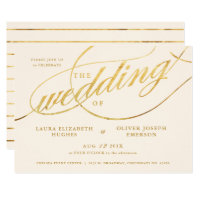 Unique Modern Champagne & Gold Script Wedding Card