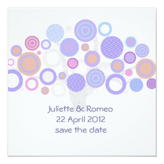 unique modern circles colorful save the date card custom invitation