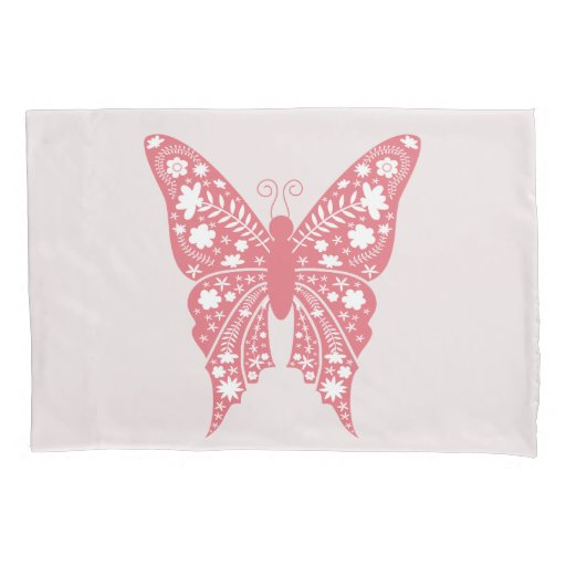 Unique Modern Cute Pink Butterfly Floral Pattern Pillow Case