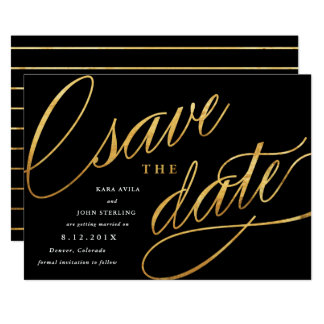Unique Modern Save the Dates | Black & Gold Card