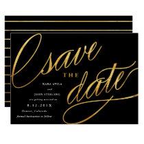 Unique Modern Save the Dates | Black & Gold Invitation