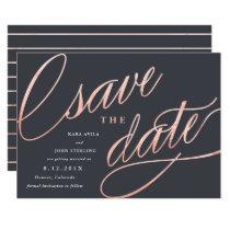 Unique Modern Save the Dates | Rose Gold Invitation