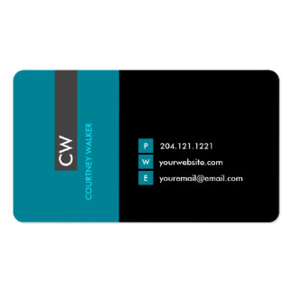 Unique modern turquoise eye catching business card