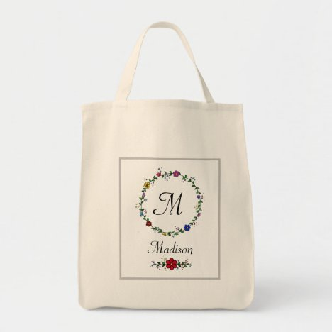 Unique Monogram and name flower and leaf circle Tote Bag