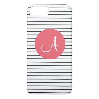 Unique Monogram Black White Pink Striped iPhone 7 Plus Case