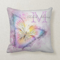 Unique Monogram Colorful Butterfly Watercolor Girl Throw Pillow
