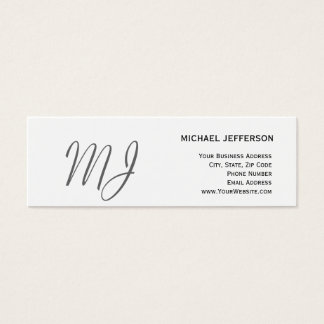 Unique Monogram Gray White Slim Business Card