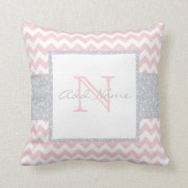 Unique Monogram Grey Pink Chevron Baby Girl Pillow