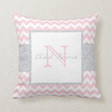 Toddler & Baby themed Unique Monogram Grey Pink Chevron Baby Girl Pillow