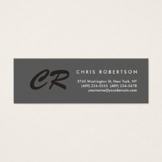 Unique Monogram Grey Slim Size Business Card