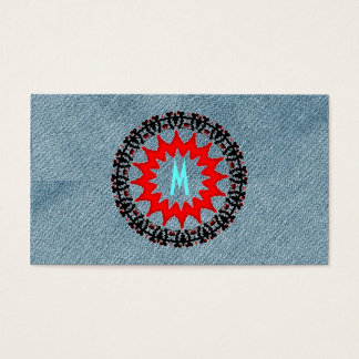 Unique Monogram Trendy Denim Modern Art-Deco Red Business Card