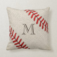 Unique Monogrammed Baseball Gifts for Dad Throw Pillow
