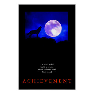 Unique Motivational Achievement Wolf Poster Print